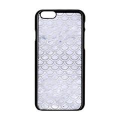 Scales2 White Marble & Silver Brushed Metal (r) Apple Iphone 6/6s Black Enamel Case by trendistuff