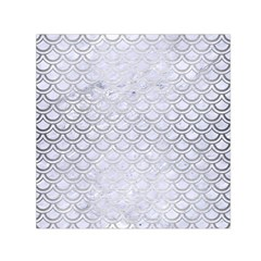 Scales2 White Marble & Silver Brushed Metal (r) Small Satin Scarf (square) by trendistuff