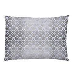 Scales2 White Marble & Silver Brushed Metal Pillow Case by trendistuff