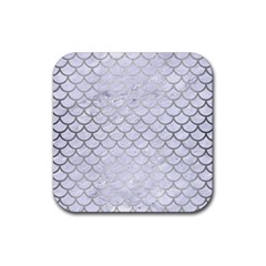 Scales1 White Marble & Silver Brushed Metal (r) Rubber Square Coaster (4 Pack)  by trendistuff