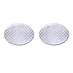 Scales1 White Marble & Silver Brushed Metal (r) Cufflinks (oval) by trendistuff