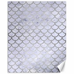 Scales1 White Marble & Silver Brushed Metal (r) Canvas 16  X 20   by trendistuff