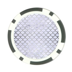 Scales1 White Marble & Silver Brushed Metal (r) Poker Chip Card Guard by trendistuff