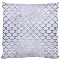 Scales1 White Marble & Silver Brushed Metal (r) Large Cushion Case (two Sides) by trendistuff