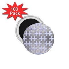 Puzzle1 White Marble & Silver Brushed Metal 1 75  Magnets (100 Pack)  by trendistuff
