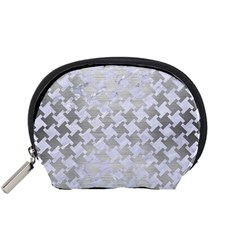 Houndstooth2 White Marble & Silver Brushed Metal Accessory Pouches (small)  by trendistuff