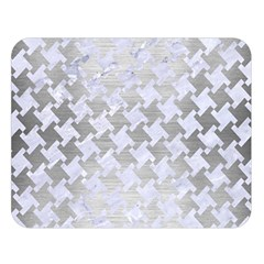 Houndstooth2 White Marble & Silver Brushed Metal Double Sided Flano Blanket (large)  by trendistuff