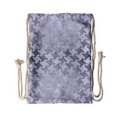 Houndstooth2 White Marble & Silver Brushed Metal Drawstring Bag (small) by trendistuff