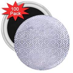 Hexagon1 White Marble & Silver Brushed Metal (r) 3  Magnets (100 Pack) by trendistuff