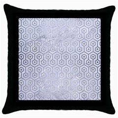 Hexagon1 White Marble & Silver Brushed Metal (r) Throw Pillow Case (black) by trendistuff