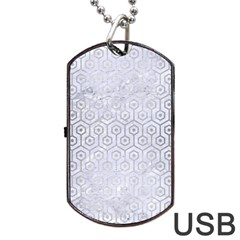 Hexagon1 White Marble & Silver Brushed Metal (r) Dog Tag Usb Flash (one Side) by trendistuff