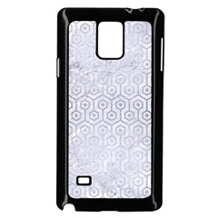 Hexagon1 White Marble & Silver Brushed Metal (r) Samsung Galaxy Note 4 Case (black) by trendistuff