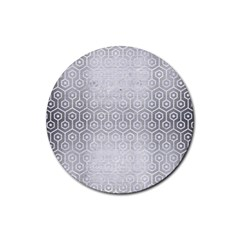 Hexagon1 White Marble & Silver Brushed Metal Rubber Coaster (round)  by trendistuff
