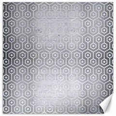 Hexagon1 White Marble & Silver Brushed Metal Canvas 20  X 20   by trendistuff