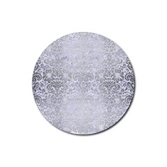 Damask2 White Marble & Silver Brushed Metal (r) Rubber Coaster (round)  by trendistuff
