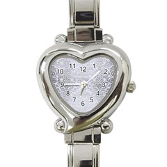Damask2 White Marble & Silver Brushed Metal (r) Heart Italian Charm Watch by trendistuff