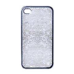 Damask2 White Marble & Silver Brushed Metal (r) Apple Iphone 4 Case (black) by trendistuff