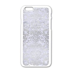Damask2 White Marble & Silver Brushed Metal (r) Apple Iphone 6/6s White Enamel Case