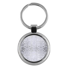 Damask2 White Marble & Silver Brushed Metal Key Chains (round)  by trendistuff