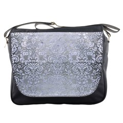Damask2 White Marble & Silver Brushed Metal Messenger Bags by trendistuff