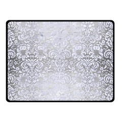 Damask2 White Marble & Silver Brushed Metal Double Sided Fleece Blanket (small)  by trendistuff