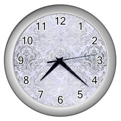 Damask1 White Marble & Silver Brushed Metal (r) Wall Clocks (silver)  by trendistuff