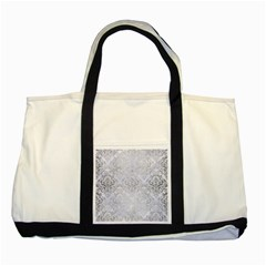 Damask1 White Marble & Silver Brushed Metal (r) Two Tone Tote Bag by trendistuff