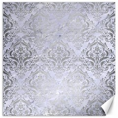 Damask1 White Marble & Silver Brushed Metal (r) Canvas 12  X 12   by trendistuff