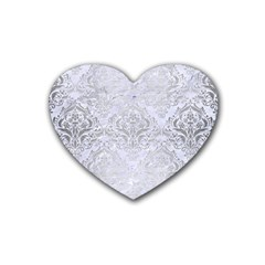 Damask1 White Marble & Silver Brushed Metal (r) Rubber Coaster (heart)  by trendistuff