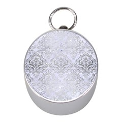 Damask1 White Marble & Silver Brushed Metal (r) Mini Silver Compasses by trendistuff