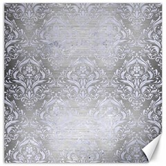 Damask1 White Marble & Silver Brushed Metal Canvas 20  X 20   by trendistuff