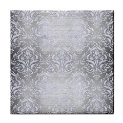 Damask1 White Marble & Silver Brushed Metal Face Towel by trendistuff