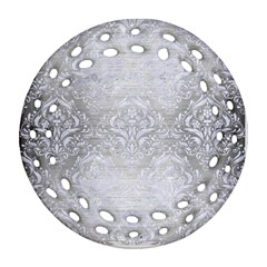 Damask1 White Marble & Silver Brushed Metal Round Filigree Ornament (two Sides) by trendistuff
