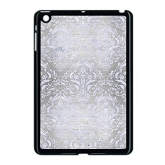 Damask1 White Marble & Silver Brushed Metal Apple Ipad Mini Case (black) by trendistuff