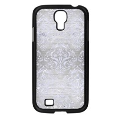 Damask1 White Marble & Silver Brushed Metal Samsung Galaxy S4 I9500/ I9505 Case (black) by trendistuff