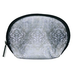 Damask1 White Marble & Silver Brushed Metal Accessory Pouches (medium)  by trendistuff
