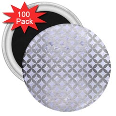Circles3 White Marble & Silver Brushed Metal (r) 3  Magnets (100 Pack) by trendistuff