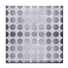 Circles1 White Marble & Silver Brushed Metal (r) Face Towel by trendistuff