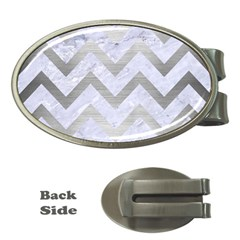 Chevron9 White Marble & Silver Brushed Metal (r) Money Clips (oval)  by trendistuff