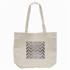 Chevron9 White Marble & Silver Brushed Metal (r) Tote Bag (cream) by trendistuff