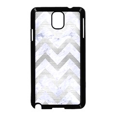 Chevron9 White Marble & Silver Brushed Metal (r) Samsung Galaxy Note 3 Neo Hardshell Case (black) by trendistuff