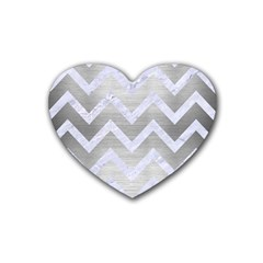 Chevron9 White Marble & Silver Brushed Metal Heart Coaster (4 Pack)  by trendistuff
