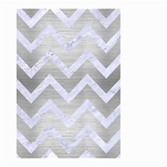Chevron9 White Marble & Silver Brushed Metal Small Garden Flag (two Sides) by trendistuff