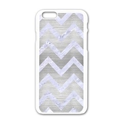 Chevron9 White Marble & Silver Brushed Metal Apple Iphone 6/6s White Enamel Case