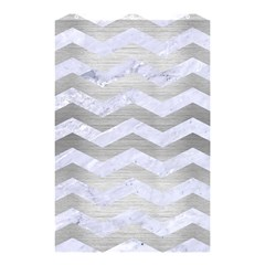 Chevron3 White Marble & Silver Brushed Metal Shower Curtain 48  X 72  (small)  by trendistuff