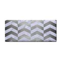 Chevron2 White Marble & Silver Brushed Metal Cosmetic Storage Cases by trendistuff