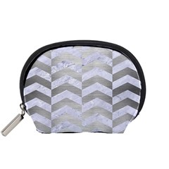 Chevron2 White Marble & Silver Brushed Metal Accessory Pouches (small)  by trendistuff