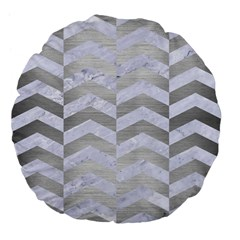 Chevron2 White Marble & Silver Brushed Metal Large 18  Premium Flano Round Cushions by trendistuff