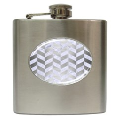 Chevron1 White Marble & Silver Brushed Metal Hip Flask (6 Oz) by trendistuff