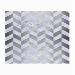 Chevron1 White Marble & Silver Brushed Metal Small Glasses Cloth (2 Side) by trendistuff